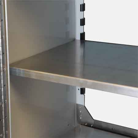 Adjustable Shelving for Aluminum Cabinets by Moduline