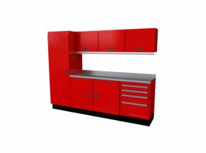 8' Wide Red Moduline Select™ SERIES Garage Cabinets