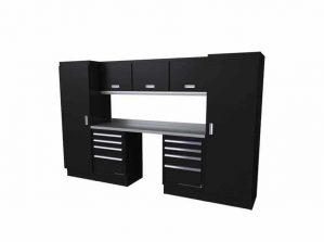 10' Wide Black Moduline Select™ SERIES Garage And Shop Aluminum Cabinet Combination #SEGC010-030