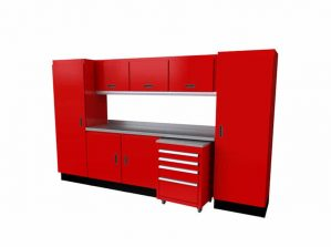 """10'-4"""" Wide Red Moduline Select™ SERIES Garage And Shop Aluminum Cabinet Combination #SEGC010-040"""