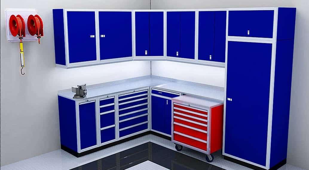 Blue Metal Aluminum Garage and Shop Cabinets