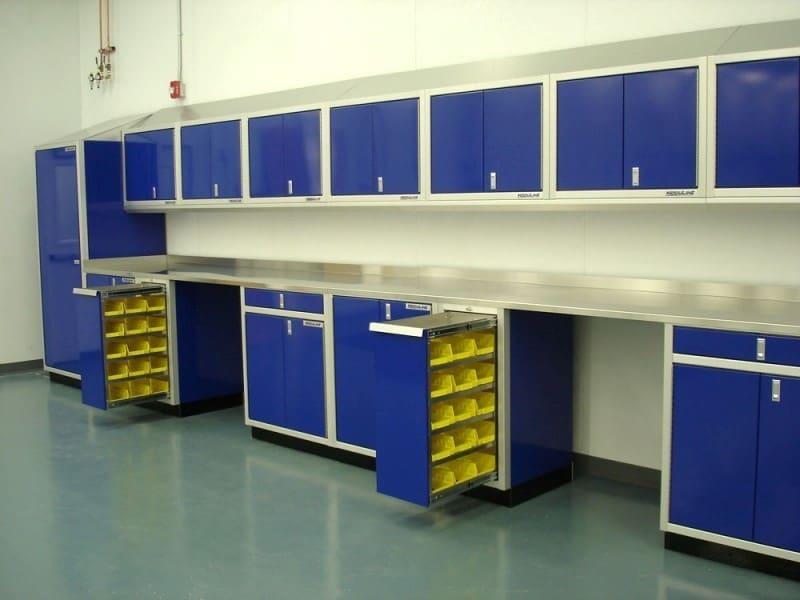 Blue Aluminum Cabinets & Parts Storage Bins