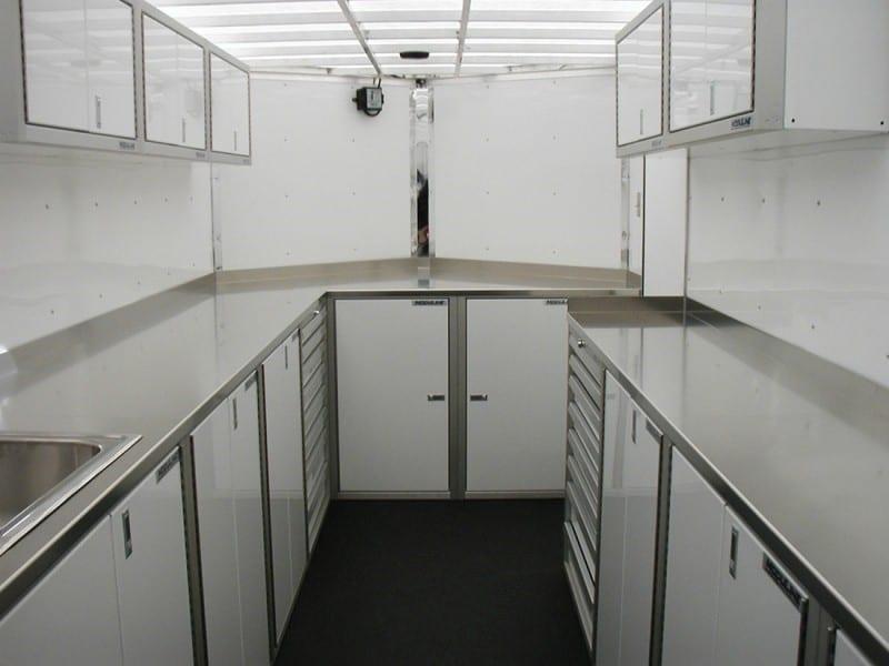 Base Aluminum Cabinets in V-Nose Trailer