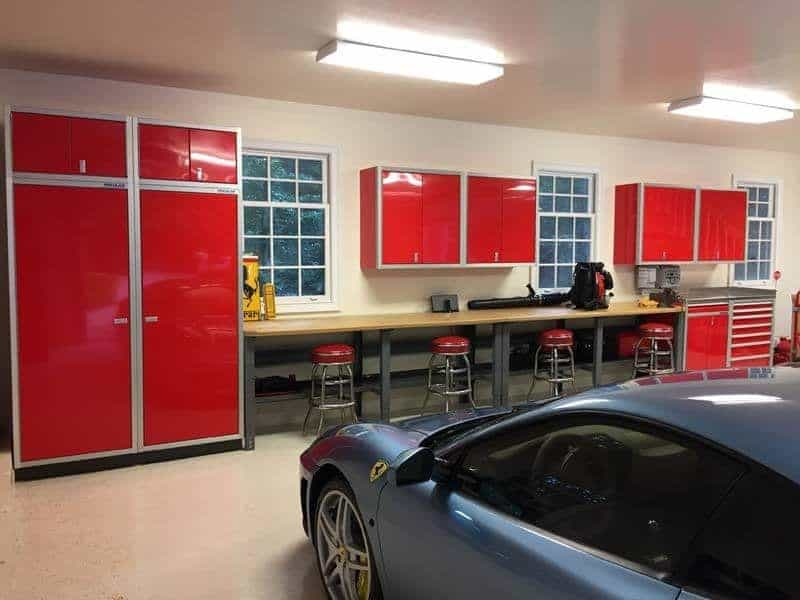Red Garage Wall Storage Systems Cabinets