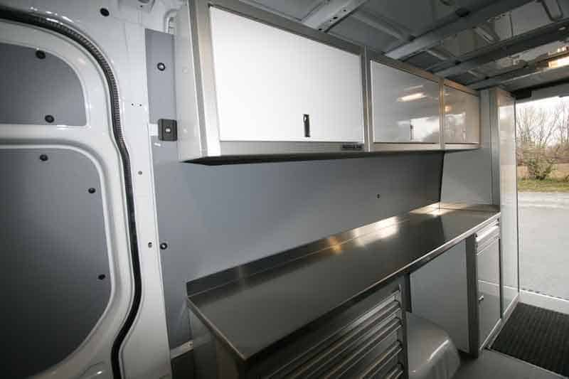 Storage in Overhead Cabinets in Trailer Vehicle