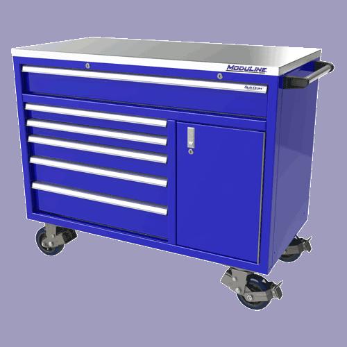"Moduline Blue 48"" Wide Aluminum Mobile Tool Box"