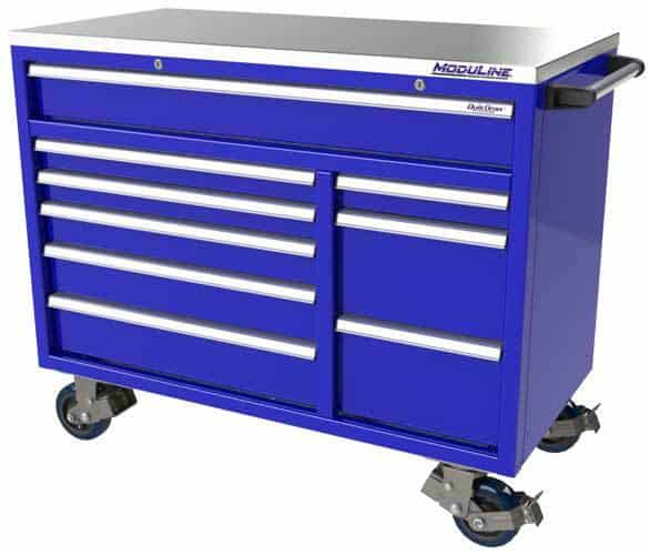 "Moduline Blue QuikDraw® 48"" Wide Aluminum Mobile Tool Box"