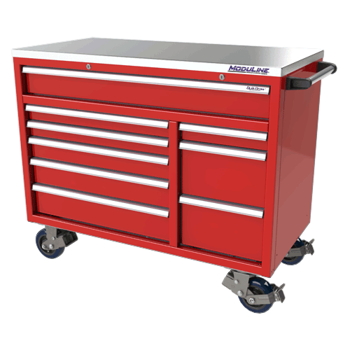 "Red 48"" Wide Aluminum Mobile Tool Box"