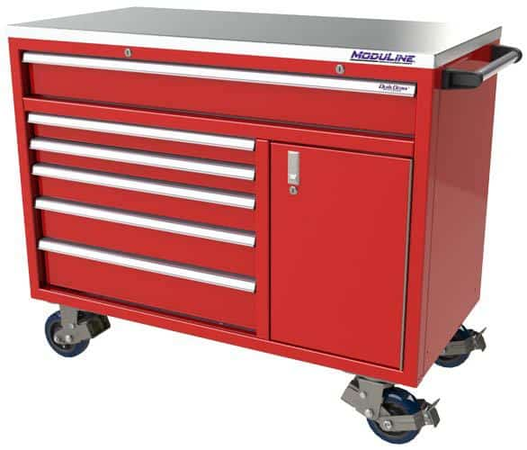 "Red QuikDraw® 48"" Wide Aluminum Mobile Tool Box"