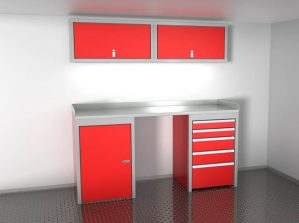 Red 6' Wide Sportsman II™ Trailer And Vehicle Aluminum Cabinet Combination #SPTC006-050