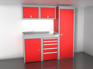 Red 6' Wide Sportsman II™ Trailer And Vehicle Aluminum Cabinet Combination #SPTC006-060