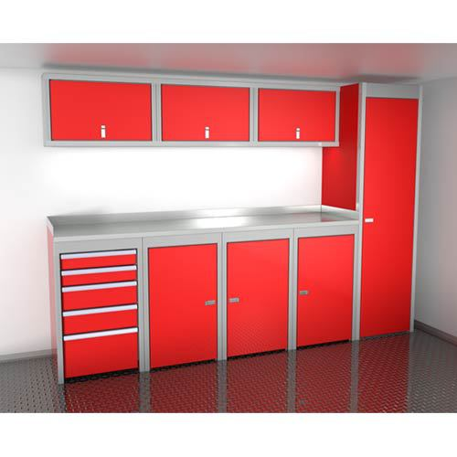 Red 10 Foot Wide Sportsman II™ Cabinet Combination SPTC010-030