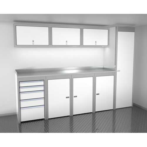 White 10 Foot Wide Sportsman II™ Cabinet Combination SPTC010-030