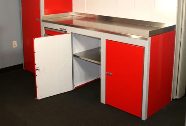 Moduline Sportsman II™ Red Base Cabinet Open