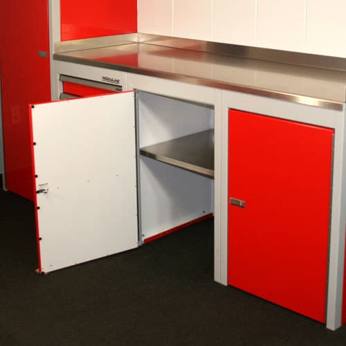 Red Sportsman II™ Aluminum Base Cabinet Open With Aluminum Countertop
