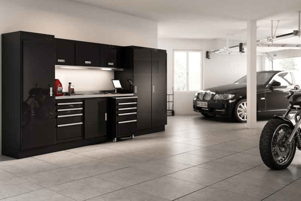 Black Aluminum Moduline Cabinets for Garage Organization