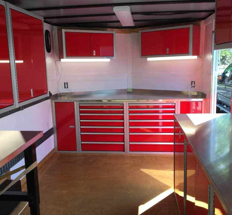 Moduline Cabinets Enclosed Trailer Organization for Race Season