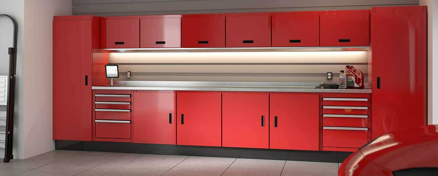 Red Moduline Cabinets in a Home Garage