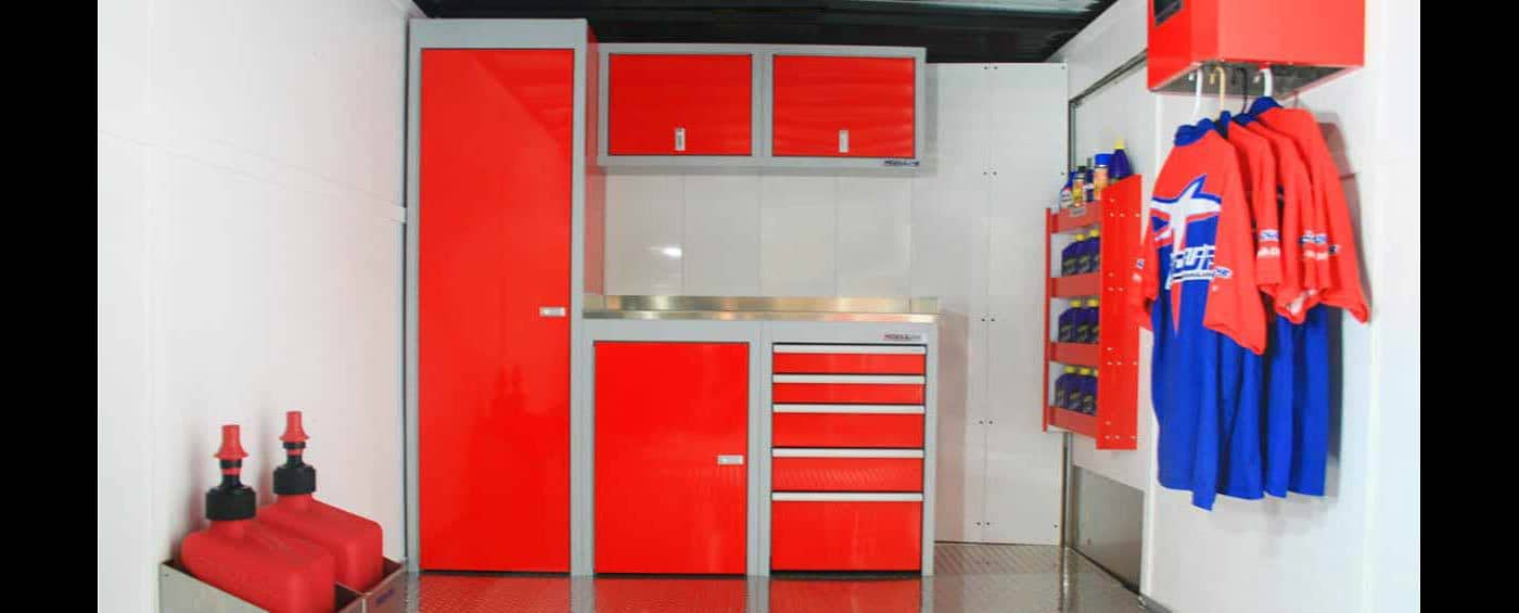 Red Moduline Cabinets in a Trailer