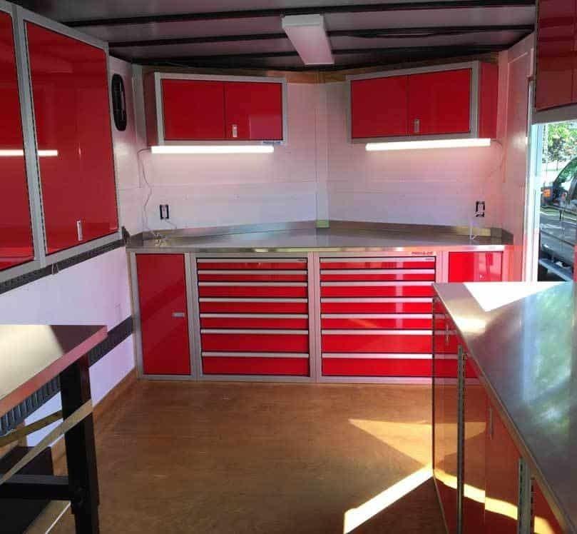 V-Nose Enclosed Trailer Aluminum Lightweight Cabinets