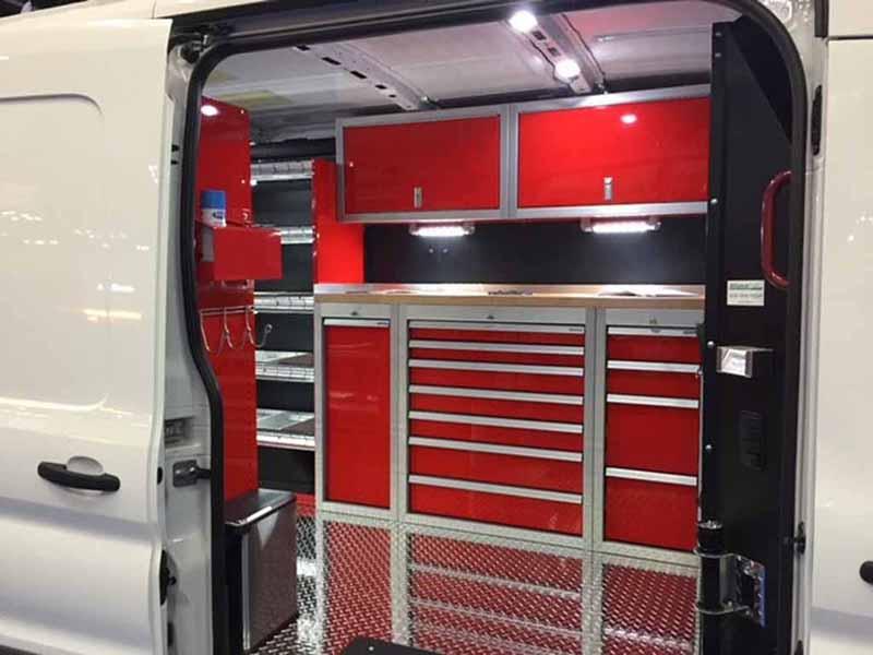 Work Van Interior Design Upfit with Aluminum Cabinets