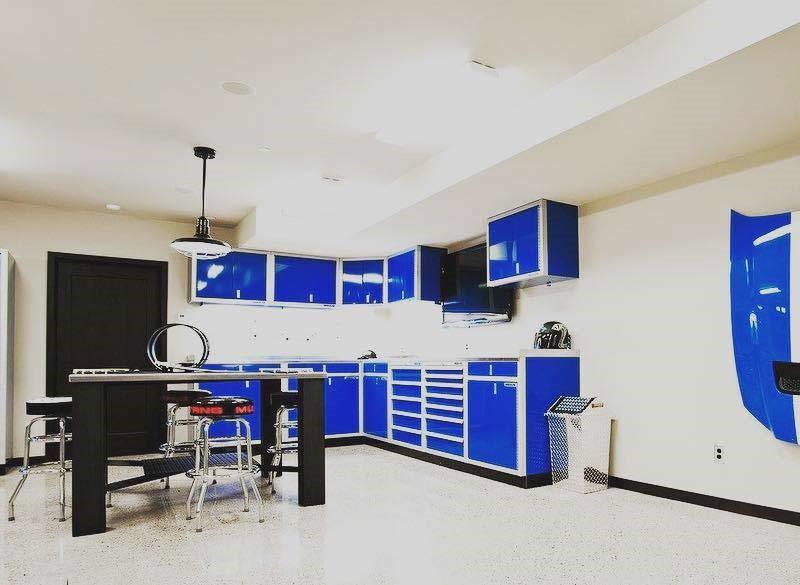 Moduline Blue Military-Grade Aluminum Cabinets in Workshop