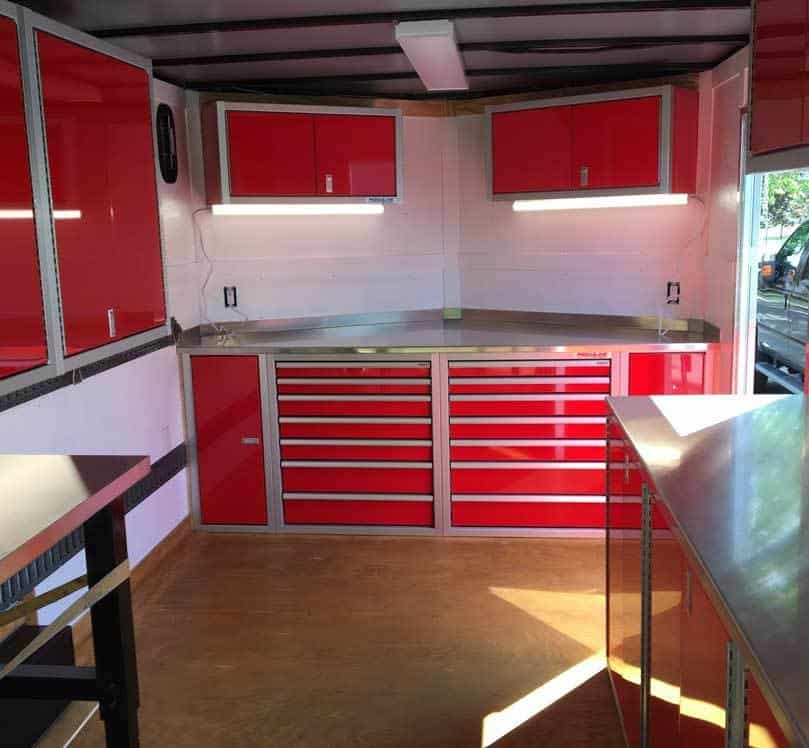 Enclosed Trailer Cabinets for Race Storage Solutions
