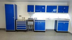Moduline Blue Aluminum Cabinets in residential garage