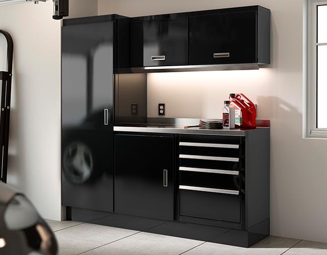 Black Select series cabinet inside home garage