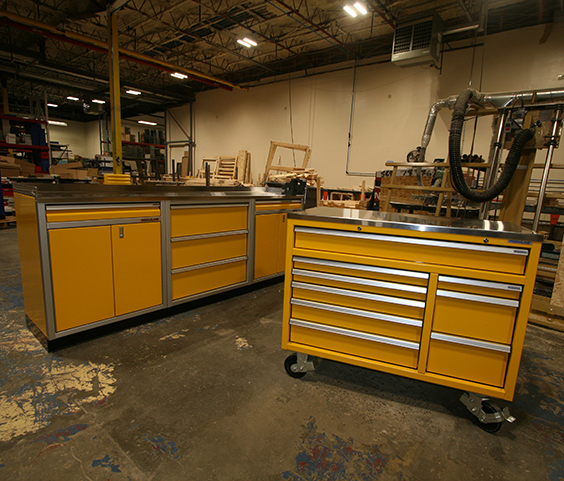 Rolling Toolbox and Cabinet Storage in a Woodshop