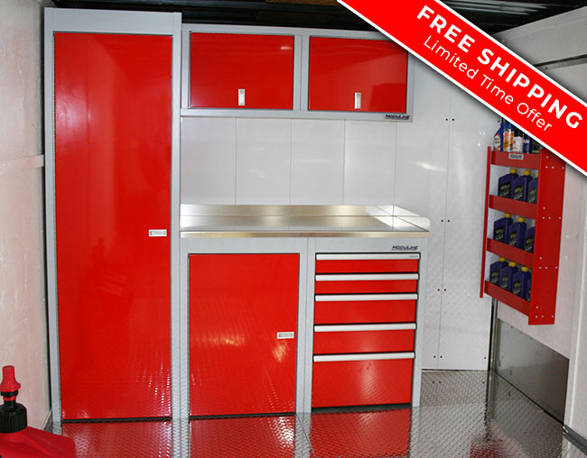 Red Sportsman II series cabinets with workbench on back wall with FREE SHIPPING of trailer