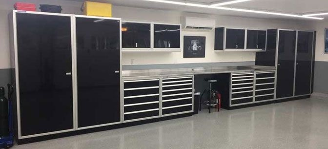 Black Moduline Workstation Wall Cabinets Garage