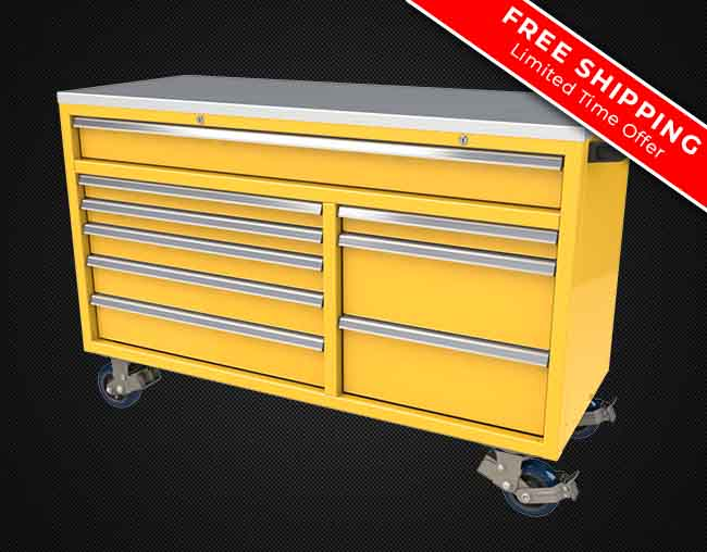 Free Shipping on QuikDraw Aluminum Rolling Toolboxes