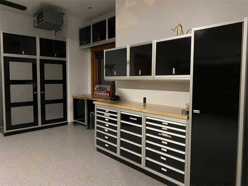 Organize Tools in Garage with Aluminum Cabinets