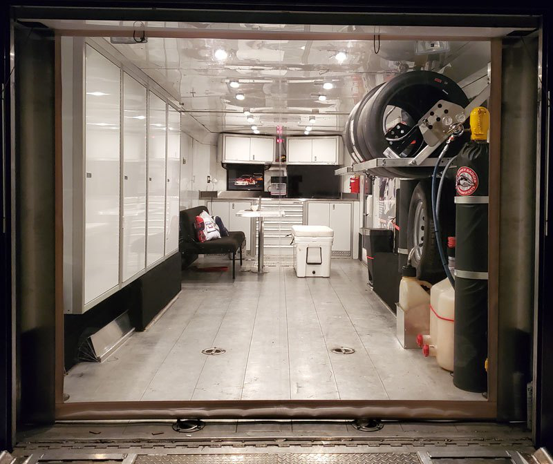 V-Nose Race Trailer with Aluminum Cabinets