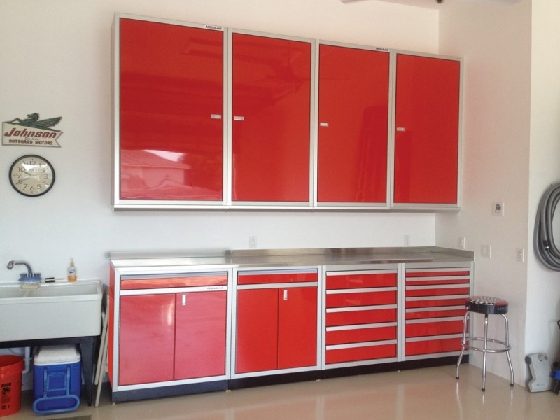 Red Moduline Aluminum Storage Cabinets for Garage