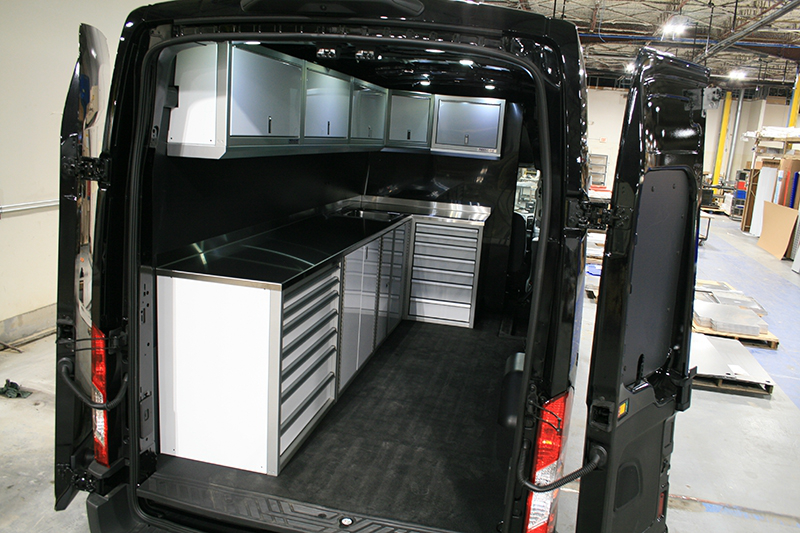 Ford Transit Van Upfit with White Cabinets