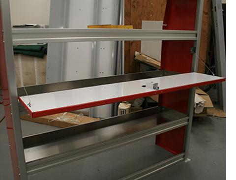 """Moduline Upfit™ Series 60"""" Wide Tethered Door Kit Shown Open"""