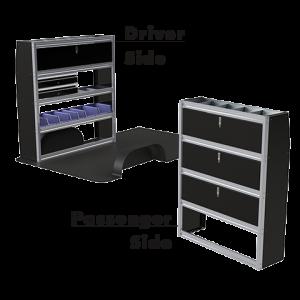 Upfit™ SERIES Aluminum Van Storage Package 60″ Wide (Driver) & 48″ Wide (Passenger) #UP6048-06