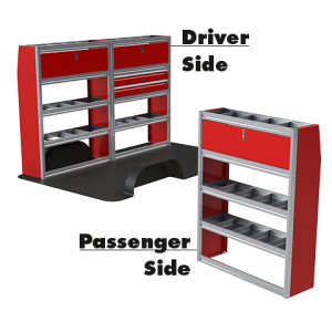 Upfit™ SERIES Aluminum Van Storage Package 96″ Wide (Driver) & 48″ Wide (Passenger) #UP9648-03
