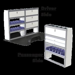 Upfit™ SERIES Aluminum Van Storage Package 96″ Wide (Driver) & 48″ Wide (Passenger) #UP9648-06