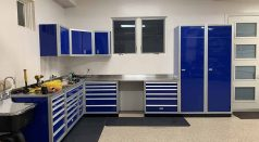 Aluminum garage shop cabinets in Moduline Blue