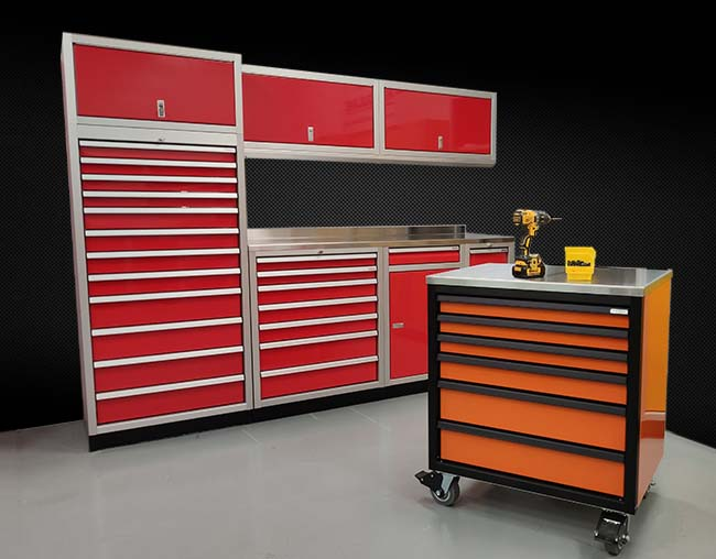 ProII Series red cabinet setup with orange and black rolling toolbox